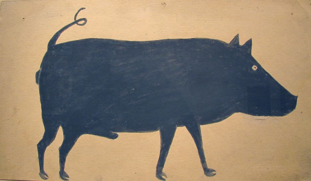 Bill Traylor, 'Untitled Black Male Boar with Curly Tail'