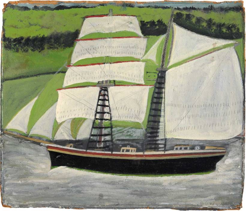 Alfred Wallis, 'Brigantine Sailing Past Green Fields'