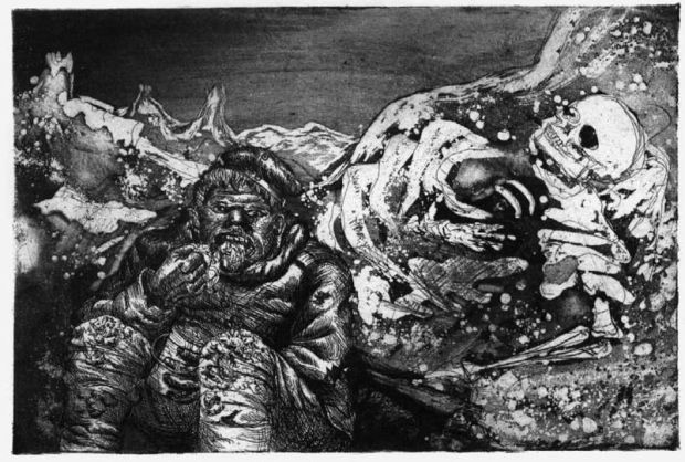 Otto Dix, Mahlzeit in der Sappe (Mealtime in the Trenches), 1924