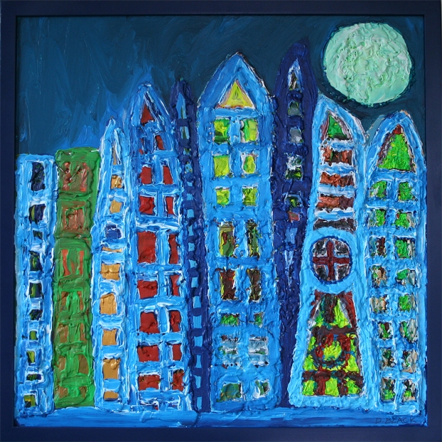 Moonlit Metropolis Acrylic and non toxic hotglue on wood size 100cm by 100cm